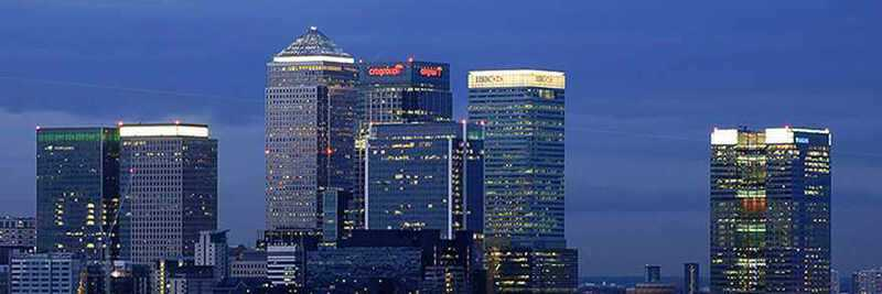 The skyline of Canary Wharf in East London