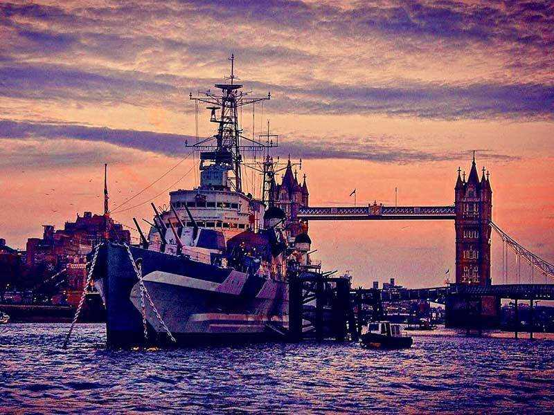 HMS Belfast and Tower Bridge at sunset